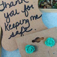 KeepMeSafe - Teal Rose Bud - Thank You - Teacher Earrings