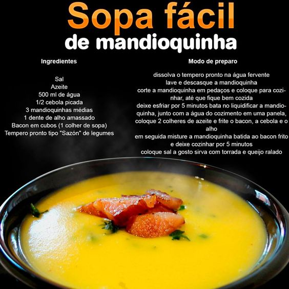 Que tal uma Sopa de mandioquinha ??Uma receita muito fácil, e super deliciosa !!!!: