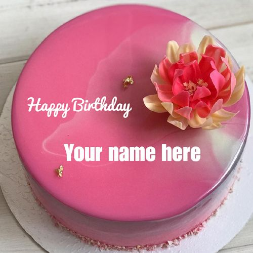 Lovely Pink Floral Art Shining Birthday Cake With Name Brithday Cake Cake Name Birthday Cake Writing