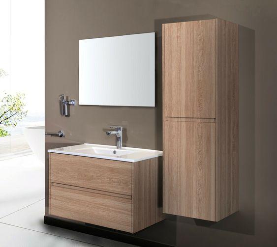 Badmobel Set Eiche Badezimmermobel Hochschrank Waschtisch Spiegel 60 80 Cm Badezimmermobel Ideen Von Badezimmermobel In 2020 Hochschrank Waschtisch Badmobel Set