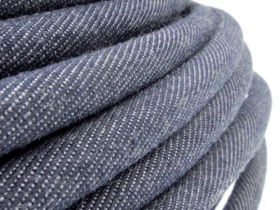 Round Raw Denim Jeans Cord 8mm - blue