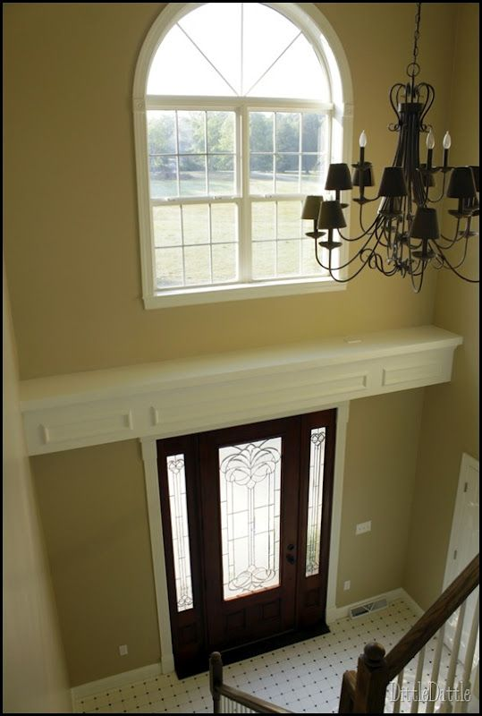 Window Above Foyer : Shelf with recessed lighting above entry door from my