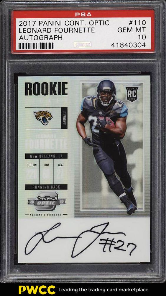 2017 Panini Contenders Optic Leonard Fournette Rookie Rc Auto 110 Psa 10 Pwcc Psa10 Sportscards Collecting Psa 10 Things Sports Cards