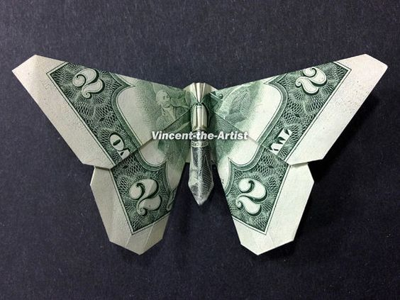 BUTTERFLY Dollar Origami - Made with $2 Bill: