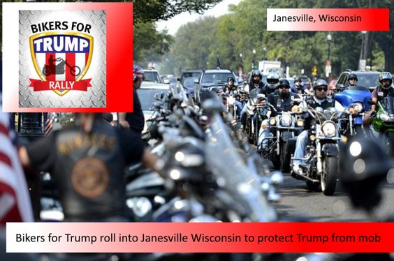 Bikers for Trump rolled in to Wisconsin and upset some anti-Trump protestors that think the first amendment isn't for all citizens.  They heard the ROLLING THUNDER coming from afar and dang….their shouts just weren't loud enough to earn their George  Soros cash for the day!