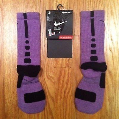Nike Elite Custom Basketball Socks - Purple w/Black Stripe NWT - Sz L *RARE*