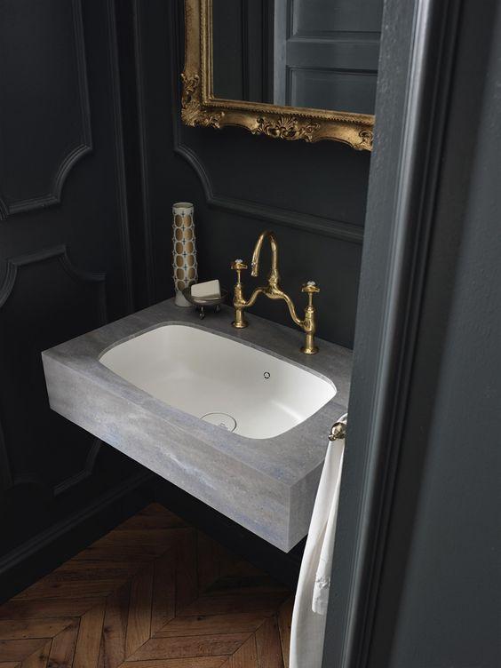 design handwaschbecken badezimmer grau naturstein optik retro - badezimmer grau design