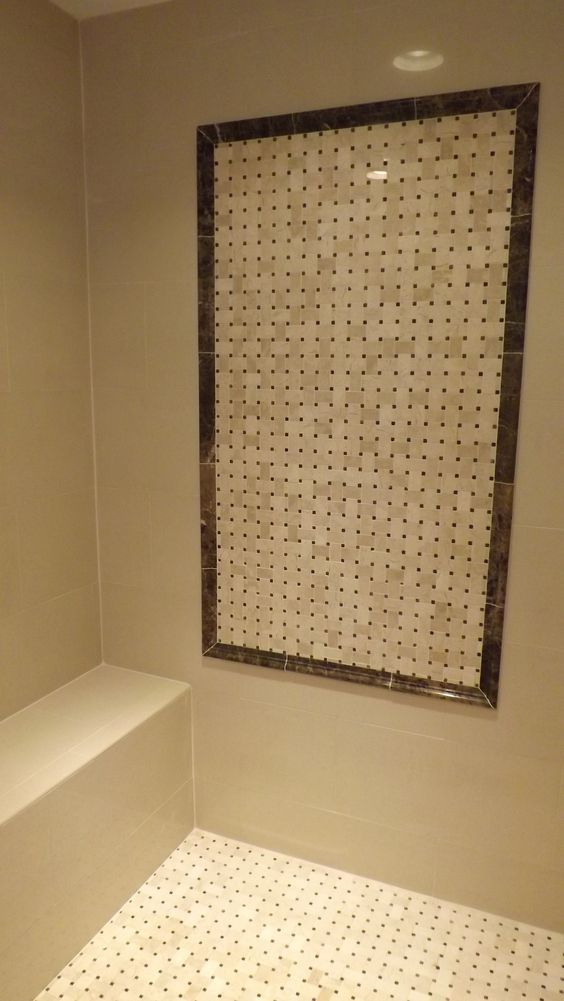 Polished Iris porcelain wall tile, accented with natural marbles
