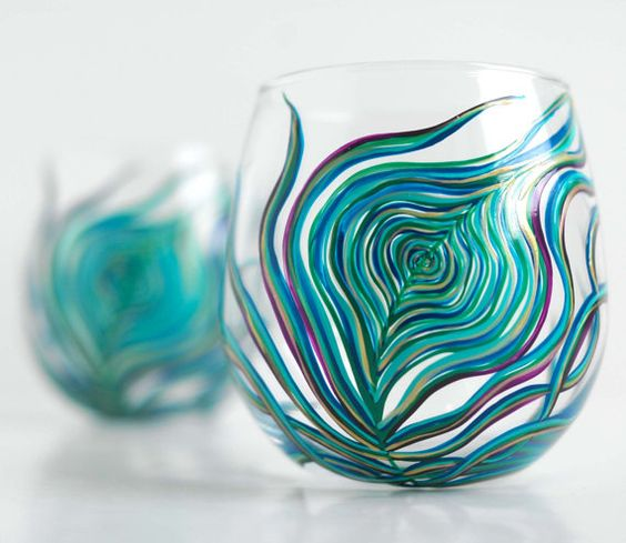 Peacock Feather stemless wine glasses. Hand painted & dishwasher safe. >> These are just so pretty!: