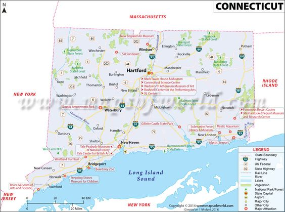 Connecticut Map for free download and use The map of Connecticut – Map of Major Cities in New York
