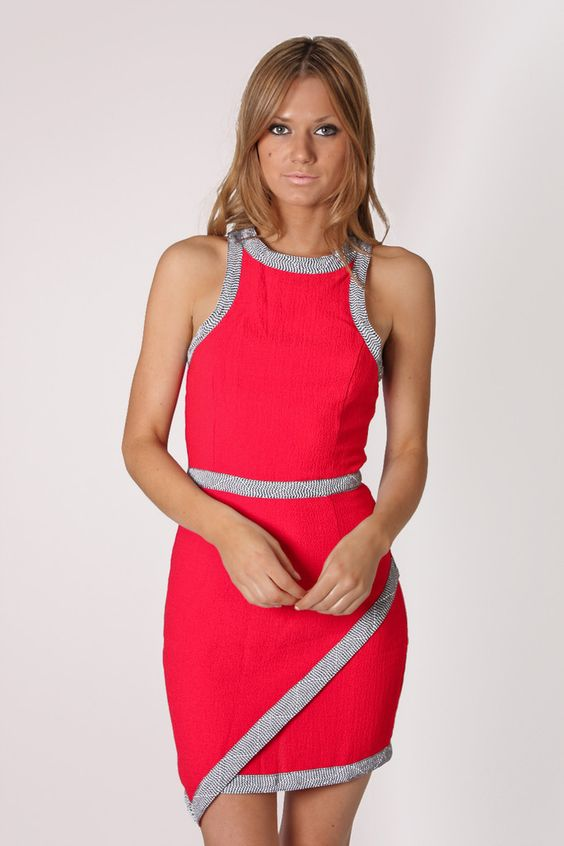 day dream high neck cocktail dress- red