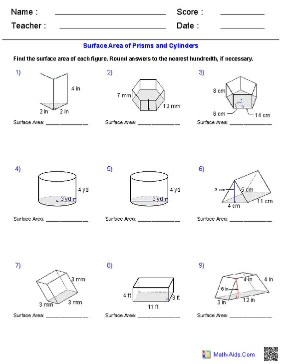 Prisms and Cylinders Surface Area Worksheets – Volume of Prisms and Cylinders Worksheet