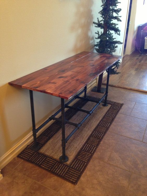Pipe and wood library table. Pipe and wood library table   Home decor and organization ideas