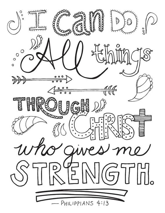 religious quotes coloring pages - bible verse coloring page philippians 4 13 printable