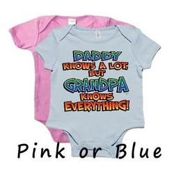 Daddy Knows A Lot But Grandpa Knows Everything Onesie - Blue 6-12 Months: Baby Onsies, Baby Ideas, Baby Clothes, Baby Girl, Baby Things, Baby Boy 3, Grandpa Grandbaby, Baby Shower, Baby Stuff