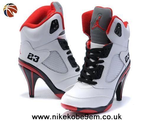 2014 Air Jordan 5 High Heels Women White Black Red