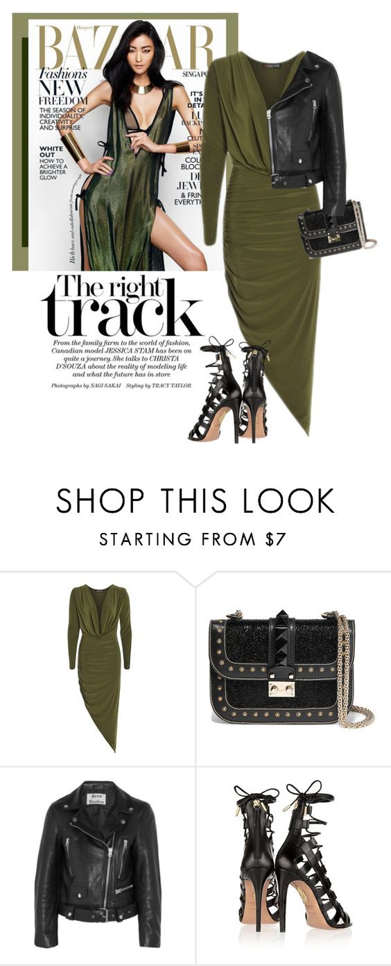"""Asymmetrical"" by luvsassyselfie ❤ liked on Polyvore featuring ファッション, Valentino, Acne Studios, Aquazzura, black, GREEN と olive"