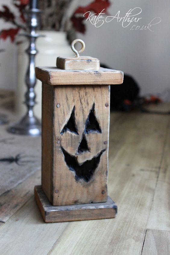 Pumpkin Lantern - a Halloween decoration made from pallet wood.