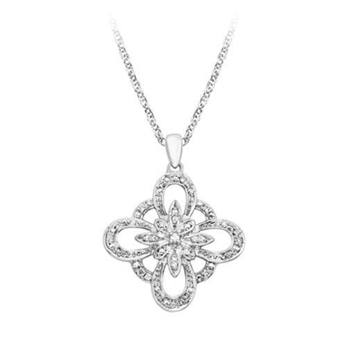 1 10 Ct Tw Diamond Fashion Pendant In Sterling Silver Vintage Jewelry Sets Diamond Jewelry Designs Diamond Fashion