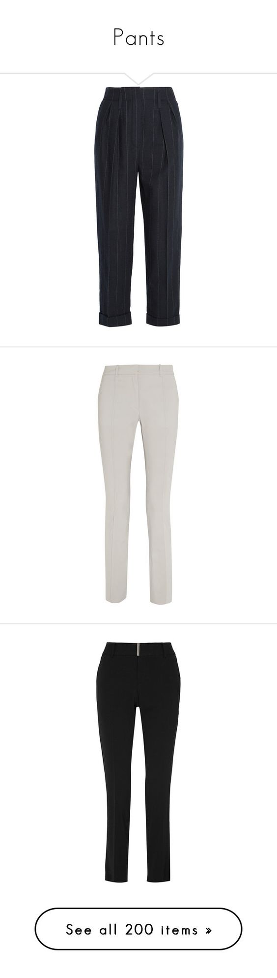 """Pants"" by carolines-closet ❤ liked on Polyvore featuring pants, capris, trousers, lanvin, blue, pleated wool pants, pinstripe pants, cropped capri pants, pleated pants and blue crop pants"
