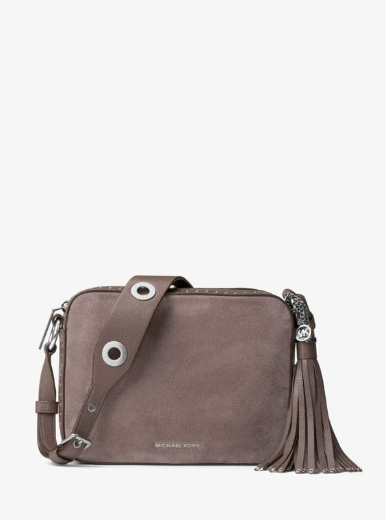 MICHAEL Michael Kors Brooklyn Large Suede Camera Bag in Cinder