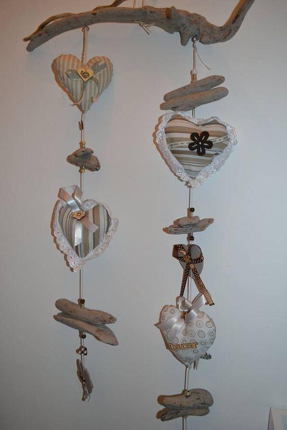 guirlande en bois flotté et coeur en tissus Création Tallie-décoration