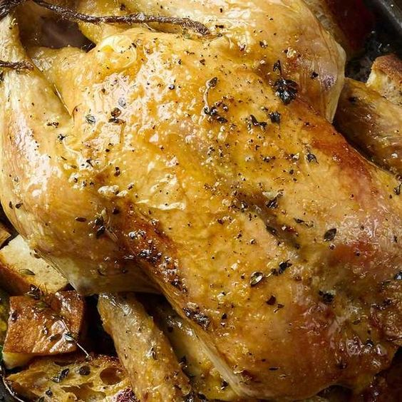 Roast chicken with garlic and thyme croutons