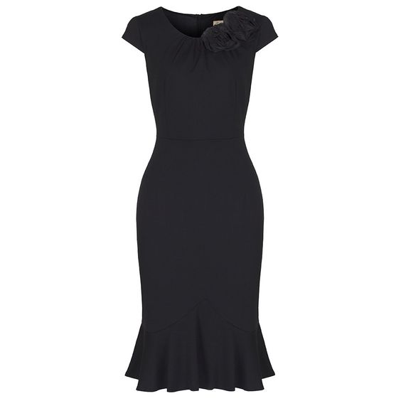 'Sharon' Vintage Classy Black Jersey Wiggle Dress