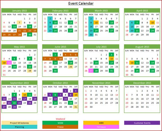 yearly event calendar
