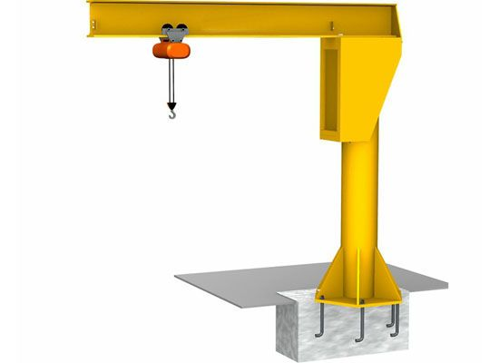 Floor Mounted Jib Crane Pillar Jib Crane Stable Jib Crane High Safety In 2020 Pillars Safety Floor Cranes For Sale