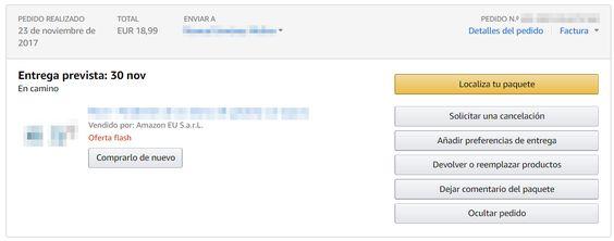 Entrega prevista en Amazon