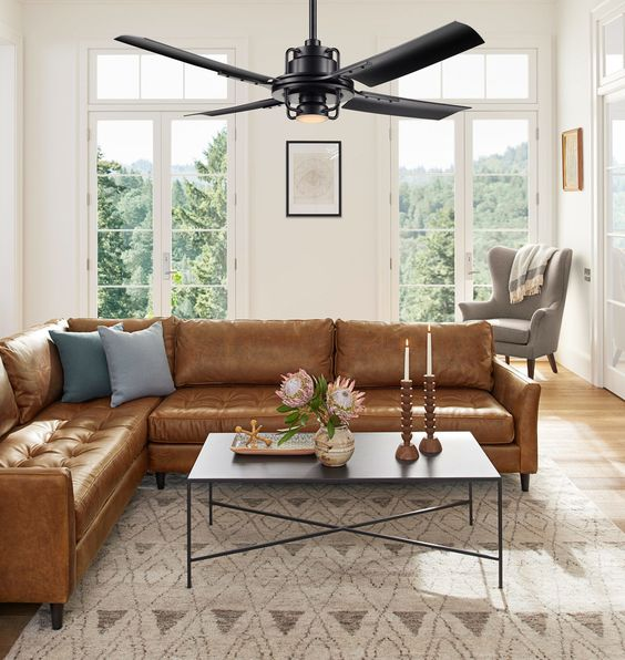 Sofa da góc hiện đại dành cho phòng khách nhỏ