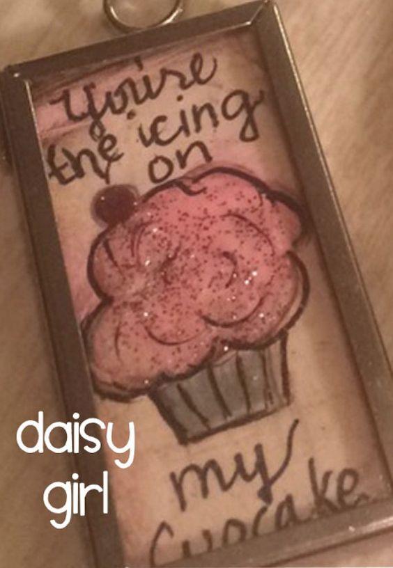 Handpainted OOAK cupcake pendant FREE by DaisygirlsArtstudio