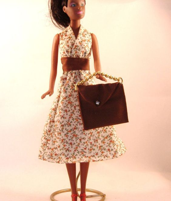 Handmade Barbie Halter Dress  Brown & Rust by debbisdresses, $6.50