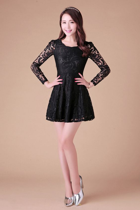 Lace Dress Long Sleeve YRB0038