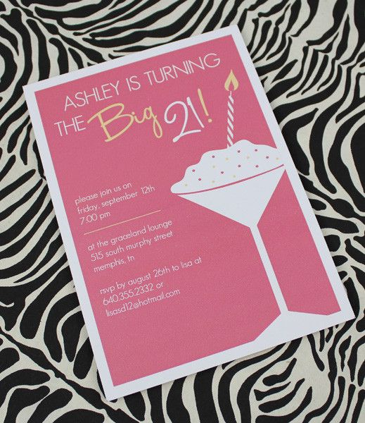 DIY 21st Birthday Invitation Template in pink from - birthday invitation templates