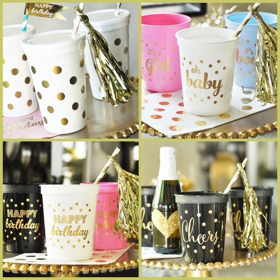 Metallic Gold Party Cups from HotRef.com
