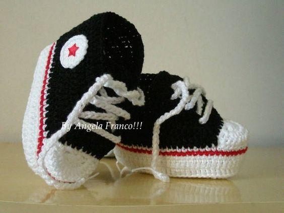 All Star baby Crochê preto/vermelho | Ateliê Angela Franco!! | Elo7