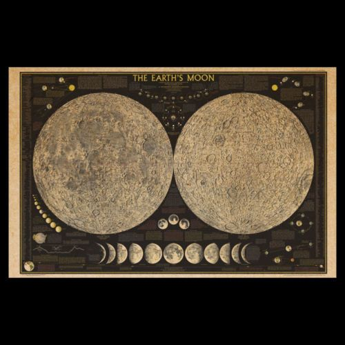 Phases Of The Moon Illustration Vintage Style Print Astronomy Poster SIA14 Old Moon Chart Circa 1800s