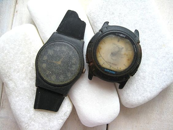 Beach Finds // 2 Black Watches // Collectibles by CreteDriftwood