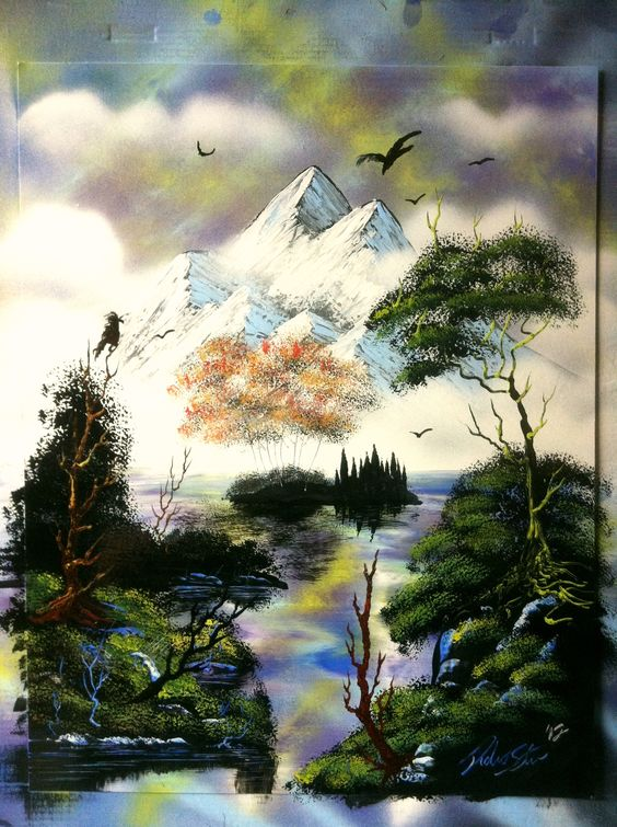 Mountains and nature spray painting art by- Robert Stevens