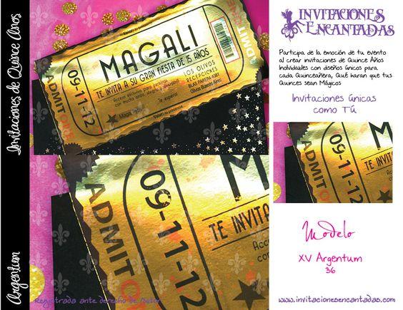 invitacion con dise u00f1o de ticket dorado