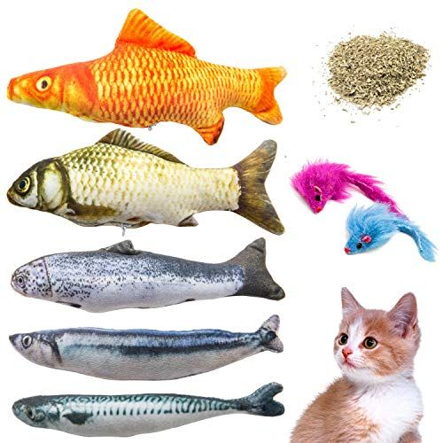 Youngever 7 Cat Toys Assortment With 5 Refillable Catnip Fish Cat Toys And 2 Catnip Fur Mouse Cat Toys Pet Rabbit Fish Cat Toy Cat Toys
