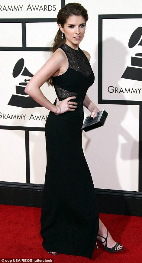 She's Pitch Perfect: Anna Kendrick hit a high note as she highlighted her curves in a blac...