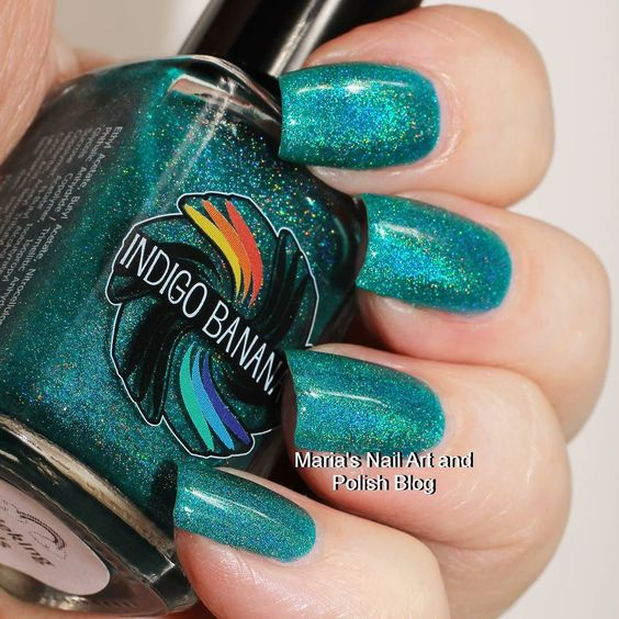 The beautiful @indigobananas Shrieking Teals is on my blog today just follow the blog link in my bio to see more photos of it and read the entire review. You also find swatches of hundreds of other indies. To see all my swatches of this brand here on IG click this hashtag: #indigobananasonmariasnailartandpolishblog #nailstagram #nails #instanails #nailpolish #manicure #swatches #ournailworld #naturalnails #notd #npa #nailporn #nailblogger #nagellack #neglelak #vernis #varnish #lacquer…
