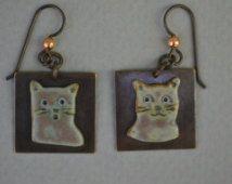 Steinzeug Ton Kitty Kopf Ohrringe