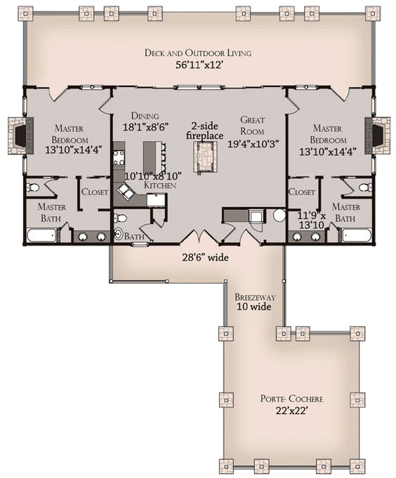 House plans with 2 master suites home floor plans 2 master for House plans with suites