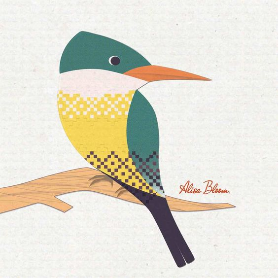 Alisa Bloom illustrated birds. Green kingfisher.