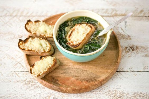 French Onion & Kale Soup with Gruyere Croutons - Recipe from ...