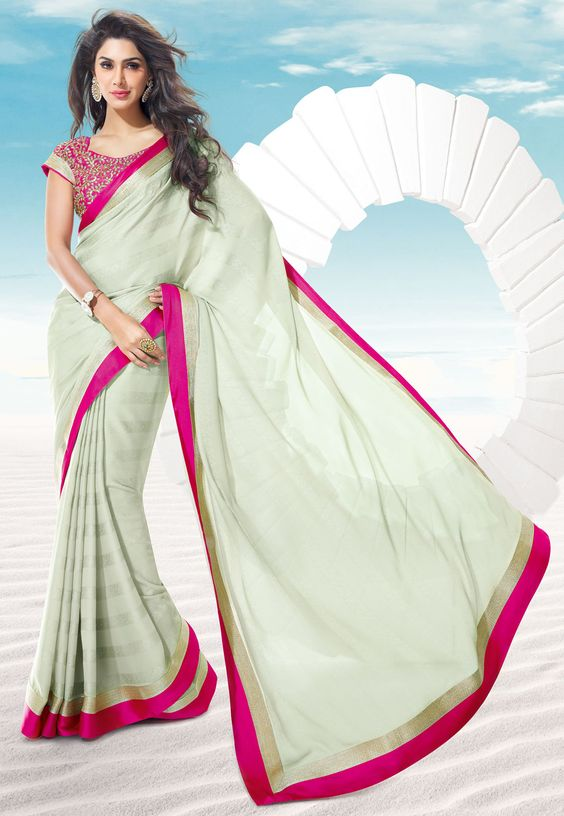 Light Grey Faux Georgette Jacquard Saree with Blouse @ $66.29